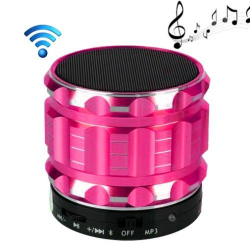 Mini Enceinte bluetooth kit mains libres micro SD USB métal Rose - Mini enceinte Bluetooth - www.yonis-shop.com