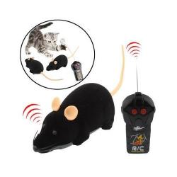 Mini souris électronique télécommandée jouet pour chat chien Noir