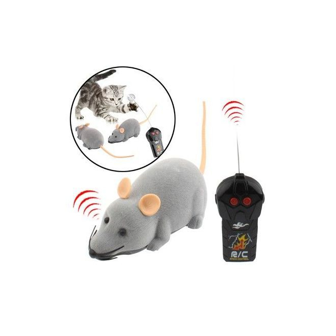 mini souris lectronique t l command e jouet pour chat chien gris. Black Bedroom Furniture Sets. Home Design Ideas