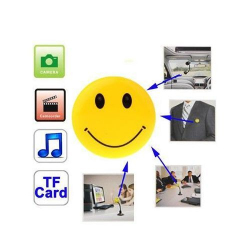 Badge smiley caméra espion appareil photo USB Micro SD
