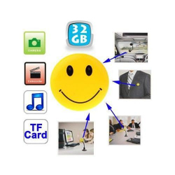 Badge smiley caméra espion appareil photo USB Micro SD 32 Go