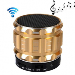 Mini Enceinte bluetooth kit mains libres micro SD USB métal Or - Enceinte Bluetooth - www.yonis-shop.com