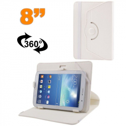 Housse universelle tablette tactile 8 pouces support 360° Blanc
