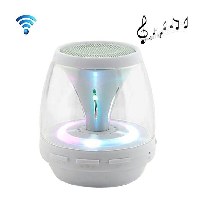Enceinte portable sans fil Bluetooth LED lumineuse kit main libre Blanc - Enceinte Bluetooth - www.yonis-shop.com