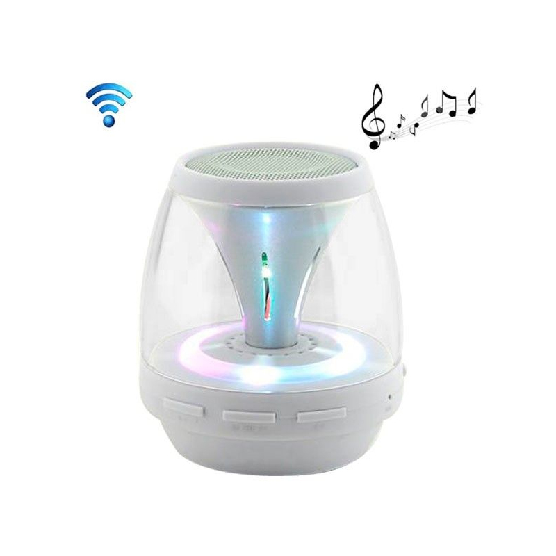 enceinte portable sans fil bluetooth led lumineuse kit main libre blanc. Black Bedroom Furniture Sets. Home Design Ideas
