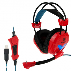 Casque micro PC gaming microphone ajustable USB gamer rouge Casque audio YONIS