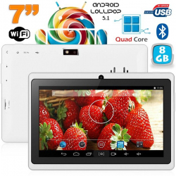 Tablette 7 pouces Bluetooth Quad Core Android 5.1 Lollipop 8Go Blanc