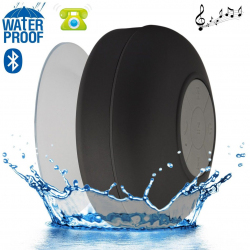 Mini enceinte Bluetooth ronde kit main libre ventouse waterproof noir Enceinte waterproof YONIS