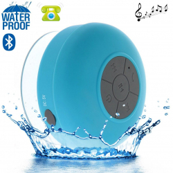 Mini enceinte Bluetooth ronde kit main libre ventouse waterproof bleu Enceinte waterproof YONIS