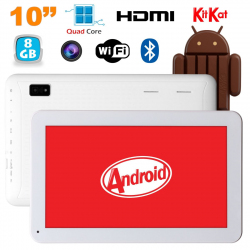 Tablette 10 pouces Android KitKat Bluetooth Quad Core 8Go Blanc