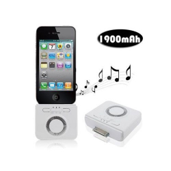 Enceinte batterie 1900 mah iPhone iPod 2 en 1 Blanche - Batterie iPhone - www.yonis-shop.com