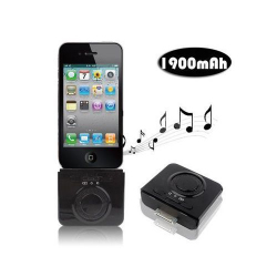 Enceinte batterie 1900 mah iPhone iPod 2 en 1 Noir - www.yonis-shop.com