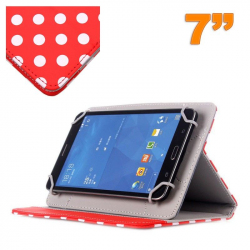 Housse universelle tablette tactile 7 pouces Rouge à pois blancs