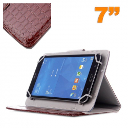 Housse universelle simili peau crocodile tablette 7 pouces Marron