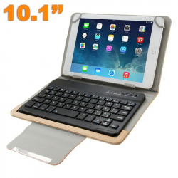Protection Tablette Universelle 10.1 pouces Clavier Bluetooth Marron - Housse clavier - www.yonis-shop.com