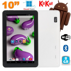 Tablette 10 pouces Quad Core Android 4.4 WiFi Bluetooth 8Go Blanc