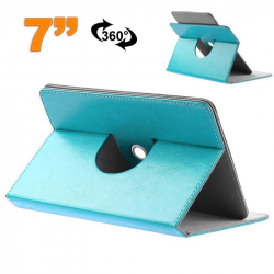 Etui protection tablette tactile 7 pouces simili cuir 360° Bleu