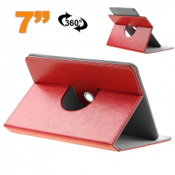 Etui protection housse tablette tactile 7 pouces simili cuir 360° Rouge