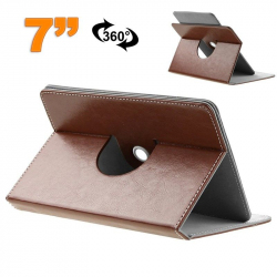 Etui protection tablette tactile 7 pouces simili cuir 360° Marron