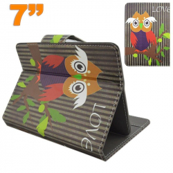 Housse universelle tablette 7 pouces support motif chouette