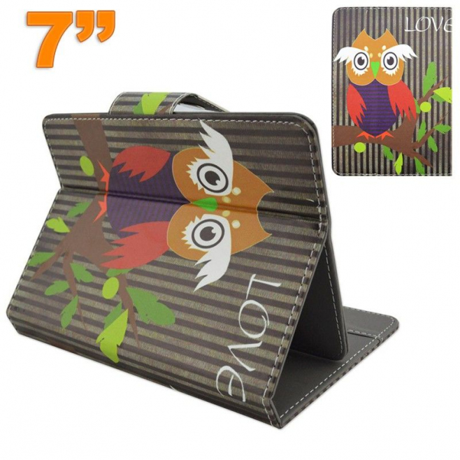 Housse universelle tablette 7 pouces support motif chouette - Housse tablette - www.yonis-shop.com