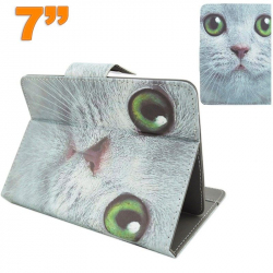Housse universelle tablette tactile 7 pouces motif chat blanc