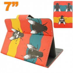 Housse universelle tablette tactile 7 pouces motif mouche orange