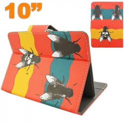 Housse universelle tablette 10 pouces motif mouche orange