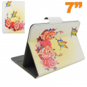 Housse universelle tablette 7 pouces étui support pivoine papillon - Housse tablette - www.yonis-shop.com