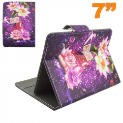 Housse universelle tablette 7 pouces support ajustable fleur violet - Housse tablette - www.yonis-shop.com