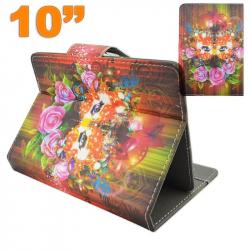 Housse tablette 10 pouces 10.1'' universelle support masque fleuri