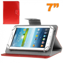 Housse universelle tablette tactile 7 pouces support ajustable Rouge