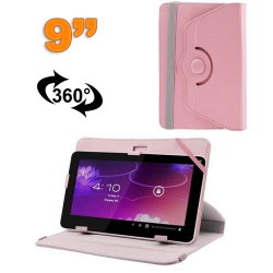 Housse universelle tablette 9 pouces protection support 360° Rose