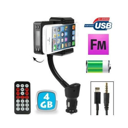 Transmetteur FM iPhone 5 kit mains libres support voiture Micro SD 4Go