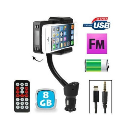 Transmetteur FM iPhone 5 kit mains libres support voiture Micro SD 8Go