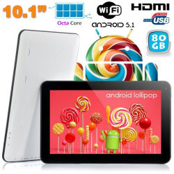 Tablette tactile 10 pouces Android Lollipop 5.1 Octa Core 80Go Blanc