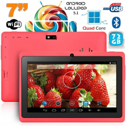 Tablette 7 pouces Bluetooth Quad Core Android 5.1 Lollipop 72Go Rose