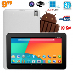 Tablette tactile 9 pouces Android 4.4 Bluetooth Quad Core 24Go Blanc