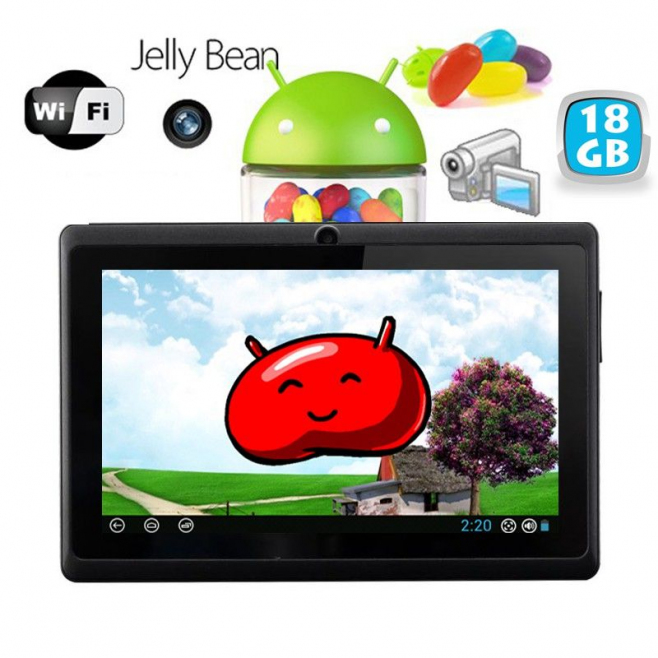 Tablette tactile Android 4.1 Jelly Bean 7 pouces capacitif 18 Go Noir