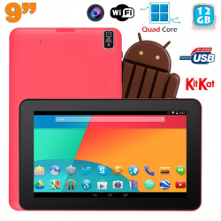 Tablette tactile 9 pouces Android 4.4 Bluetooth Quad Core 12 Go Rose