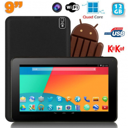 Tablette tactile 9 pouces Android 4.4 Bluetooth Quad Core 12Go Noir Tablette tactile 9 pouces YONIS