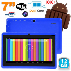 Tablette tactile Android 4.4 KitKat 7 pouces Dual Core 12 Go Bleu
