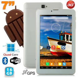 Tablette 3G 7 pouces Android KitKat Quad core 16 Go Dual Sim Blanc