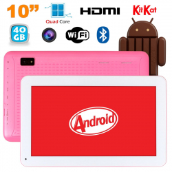 Tablette 10 pouces Android KitKat Bluetooth Quad Core 40Go Rose - Tablette tactile 10 pouces - www.yonis-shop.com