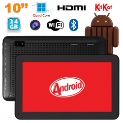 Tablette 10 pouces Android KitKat Bluetooth Quad Core 24Go Noir