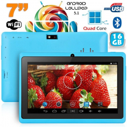 Tablette 7 pouces Bluetooth Quad Core Android 5.1 Lollipop 16Go Bleu