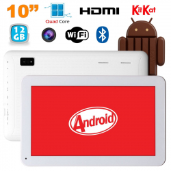 Tablette 10 pouces Android KitKat Bluetooth Quad Core 12Go Blanc