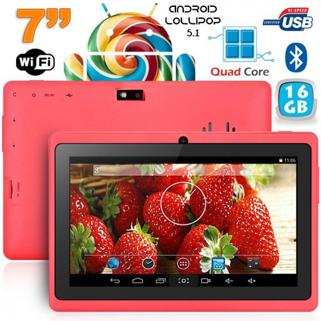 Tablette 7 pouces Bluetooth Quad Core Android 5.1 Lollipop 16Go Rose - Tablette tactile 7 pouces - www.yonis-shop.com