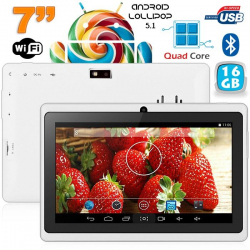 Tablette 7 pouces Bluetooth Quad Core Android 5.1 Lollipop 1Go+16Go Blanc