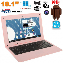Mini PC Android ultra portable netbook 10 pouces WiFi 12 Go Rose
